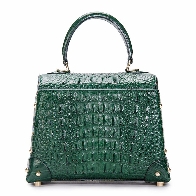 Ladies Crocodile Shoulder Bag Top Handle Handbag-Green-Back
