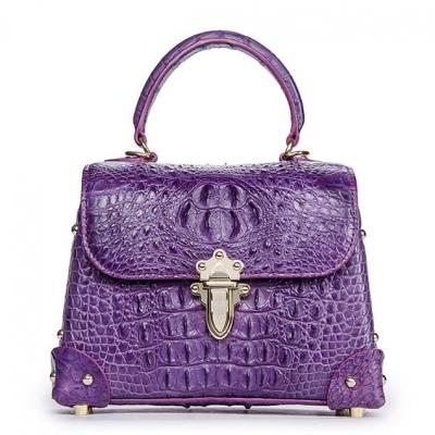 Ladies Crocodile Shoulder Bag Top Handle Handbag-Purple