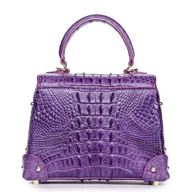 Ladies Crocodile Shoulder Bag Top Handle Handbag-Purple-Back
