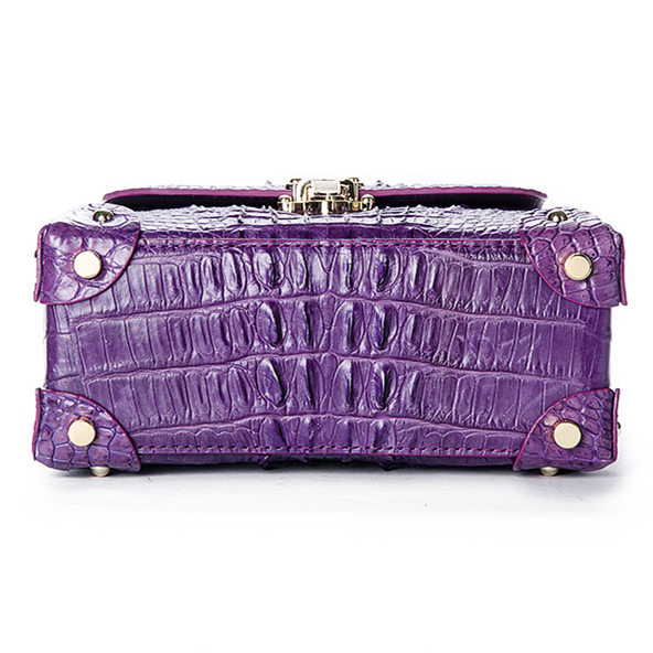 Ladies Crocodile Shoulder Bag Top Handle Handbag-Purple-Bottom