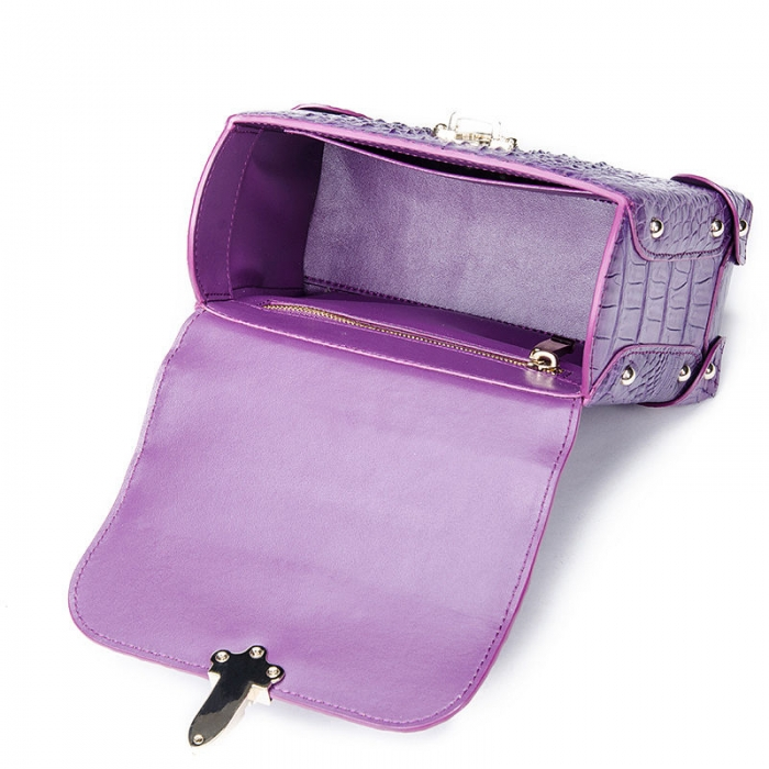 Ladies Crocodile Shoulder Bag Top Handle Handbag-Purple-Inside