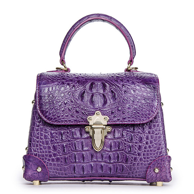Ladies Crocodile Shoulder Bag Top Handle Handbag-Purple