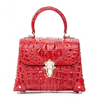 Ladies Crocodile Shoulder Bag Top Handle Handbag-Red