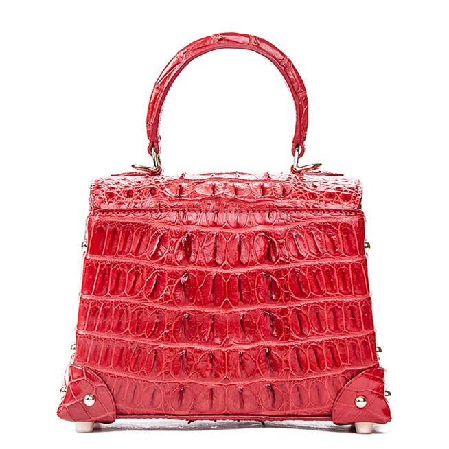 Ladies Crocodile Shoulder Bag Top Handle Handbag-Red-Back