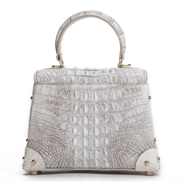 Ladies Crocodile Shoulder Bag Top Handle Handbag-White-Back