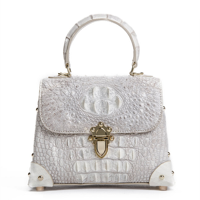 Ladies Crocodile Shoulder Bag Top Handle Handbag-White