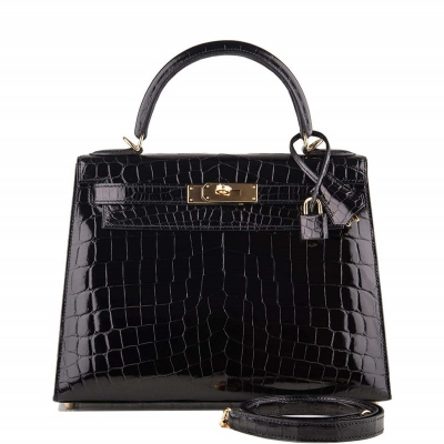 Ladies Designer Alligator Top Handle Satchel Handbags Shoulder Bags-Black