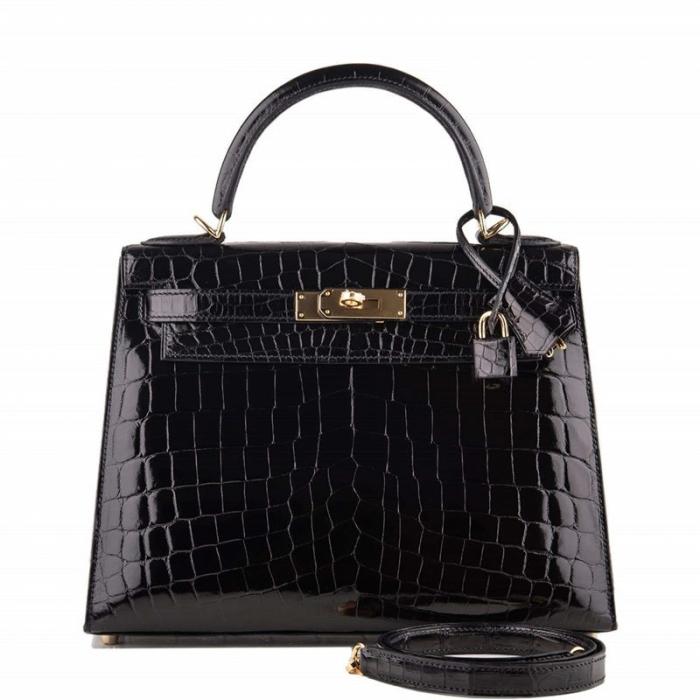 Ladies Designer Alligator Top Handle Satchel Handbags Shoulder Bags-Black