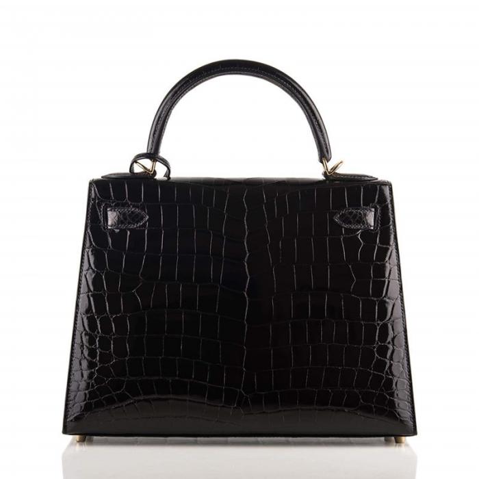 Ladies Designer Alligator Top Handle Satchel Handbags Shoulder Bags-Black-Back