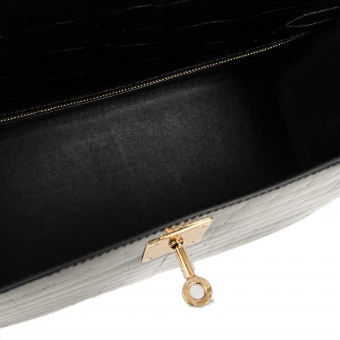 Ladies Designer Alligator Top Handle Satchel Handbags Shoulder Bags-Black-Inside