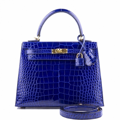 Ladies Designer Alligator Top Handle Satchel Handbags Shoulder Bags-Blue