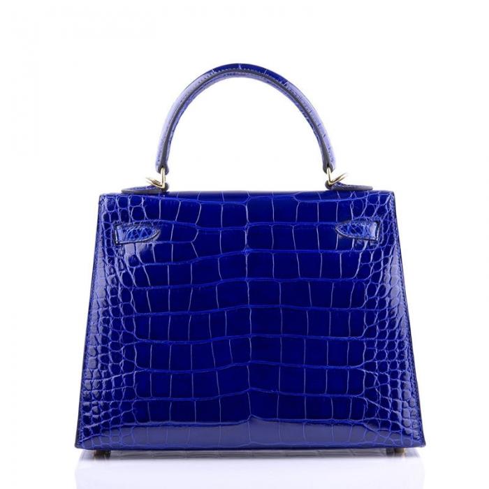 Ladies Designer Alligator Top Handle Satchel Handbags Shoulder Bags-Blue-Back