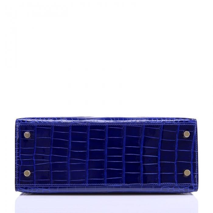 Ladies Designer Alligator Top Handle Satchel Handbags Shoulder Bags-Blue-Bottom