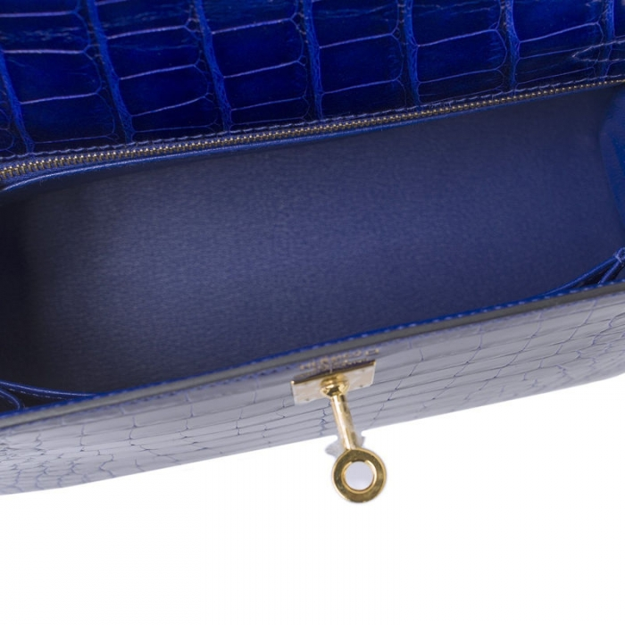 Ladies Designer Alligator Top Handle Satchel Handbags Shoulder Bags-Blue-Inside