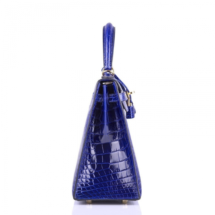 Ladies Designer Alligator Top Handle Satchel Handbags Shoulder Bags-Blue-Side