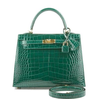 Ladies Designer Alligator Top Handle Satchel Handbags Shoulder Bags-Green