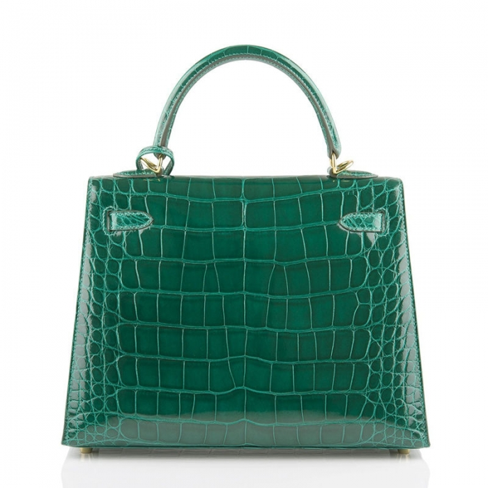 Ladies Designer Alligator Top Handle Satchel Handbags Shoulder Bags-Green-Back
