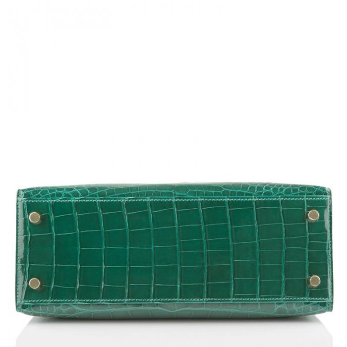 Ladies Designer Alligator Top Handle Satchel Handbags Shoulder Bags-Green-Bottom