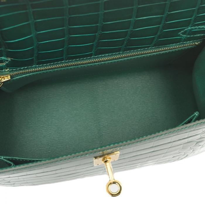 Ladies Designer Alligator Top Handle Satchel Handbags Shoulder Bags-Green-Inside