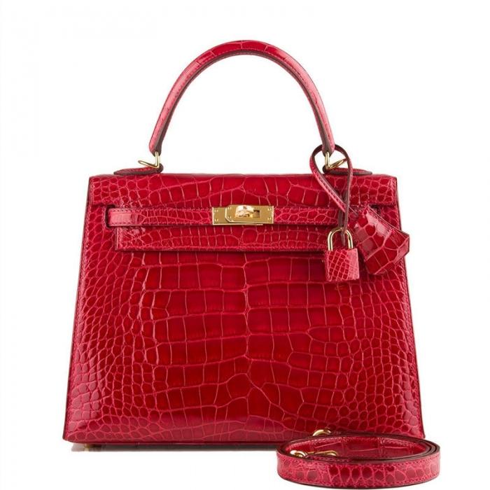 Ladies Designer Alligator Top Handle Satchel Handbags Shoulder Bags-Red