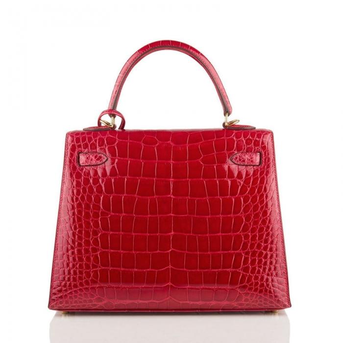 Ladies Designer Alligator Top Handle Satchel Handbags Shoulder Bags-Red-Back