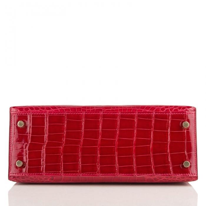 Ladies Designer Alligator Top Handle Satchel Handbags Shoulder Bags-Red-Bottom