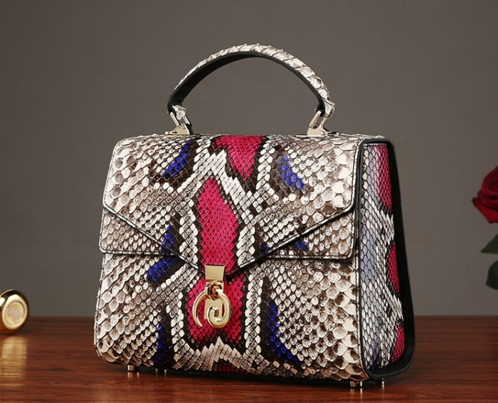 Ladies Python Skin Shoulder Purse Bag