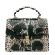 Python Skin Handbag for Women Top Handle Bag Ladies Shoulder Purse Bag-Green