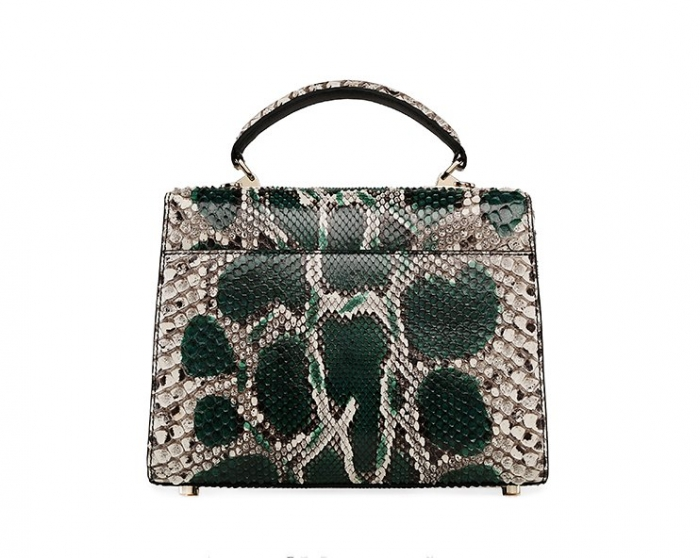 Python Skin Handbag for Women Top Handle Bag Ladies Shoulder Purse Bag-Green-Back
