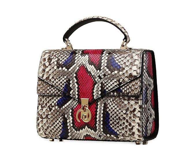 Python Skin Handbag for Women Top Handle Bag Ladies Shoulder Purse Bag-Micro side