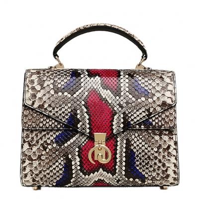 Python Skin Handbag for Women Top Handle Bag Ladies Shoulder Purse Bag-Red