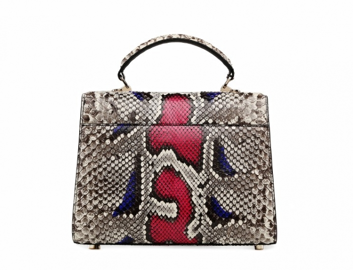 Python Skin Handbag for Women Top Handle Bag Ladies Shoulder Purse Bag-Red-Back