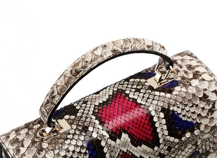 Python Skin Handbag for Women Top Handle Bag Ladies Shoulder Purse Bag-Top Handle