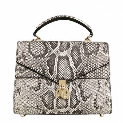 Python Skin Handbag for Women Top Handle Bag Ladies Shoulder Purse Bag-White