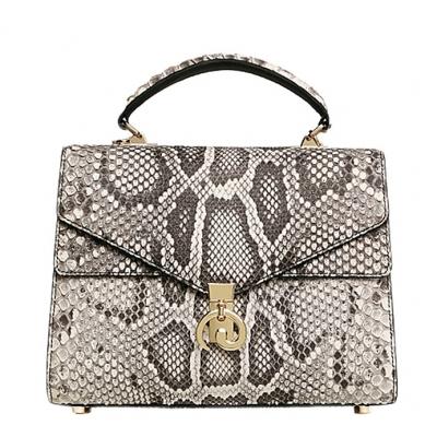 Python Skin Handbag for Women Top Handle Bag Ladies Shoulder Purse Bag-White