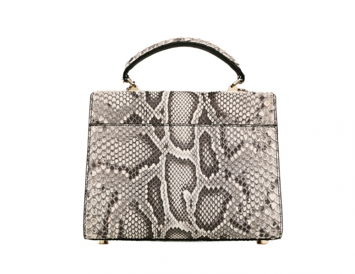 Python Skin Handbag for Women Top Handle Bag Ladies Shoulder Purse Bag-White-Back