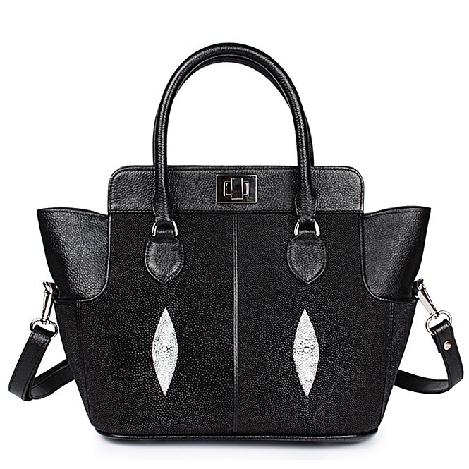 Classic Winged Stingray Leather Top-handle Tote Purse Crossbody Bag
