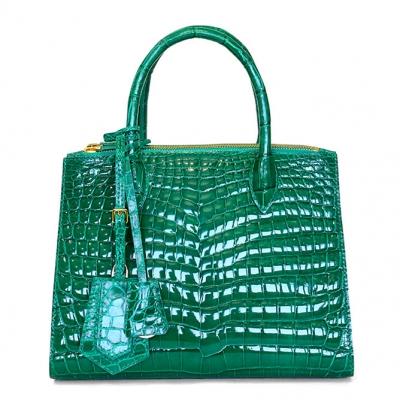 Designer Alligator Leather Top Handle Satchel Tote Bag - Green