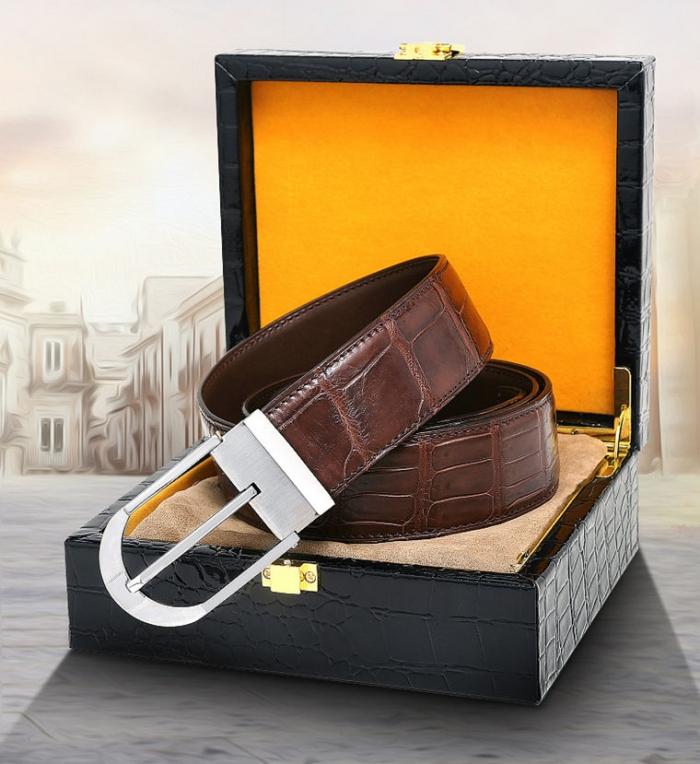Fashion Alligator Leather Belt for Businessmen-Gift Box