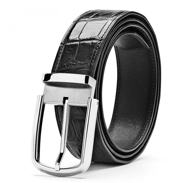 Formal Alligator Adjustable Dress Belt-Black