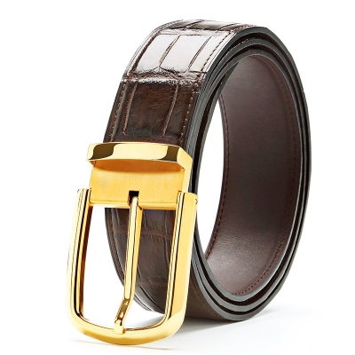 Formal Alligator Adjustable Dress Belt-Brown