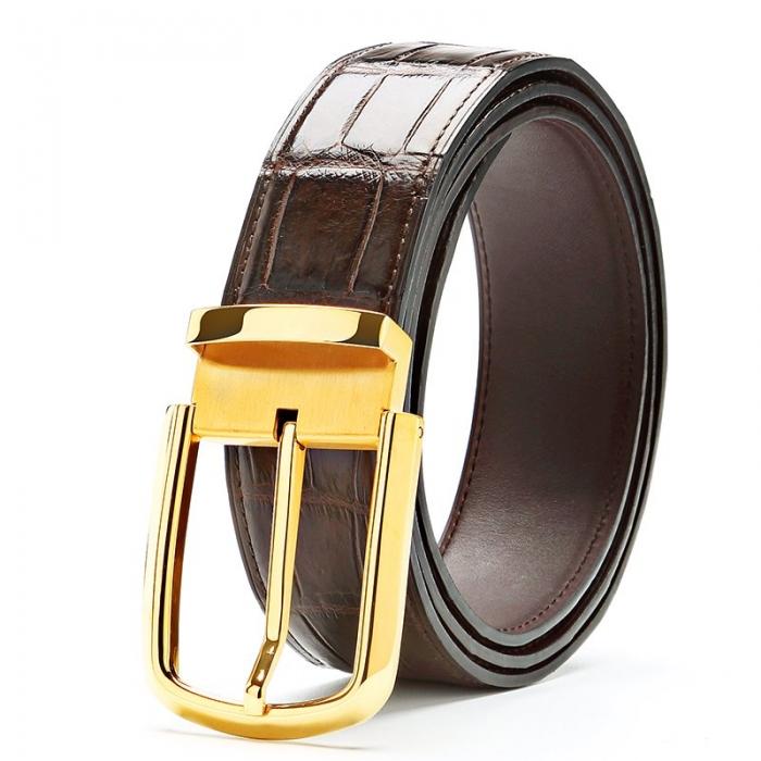Formal Alligator Adjustable Dress Belt-Brown