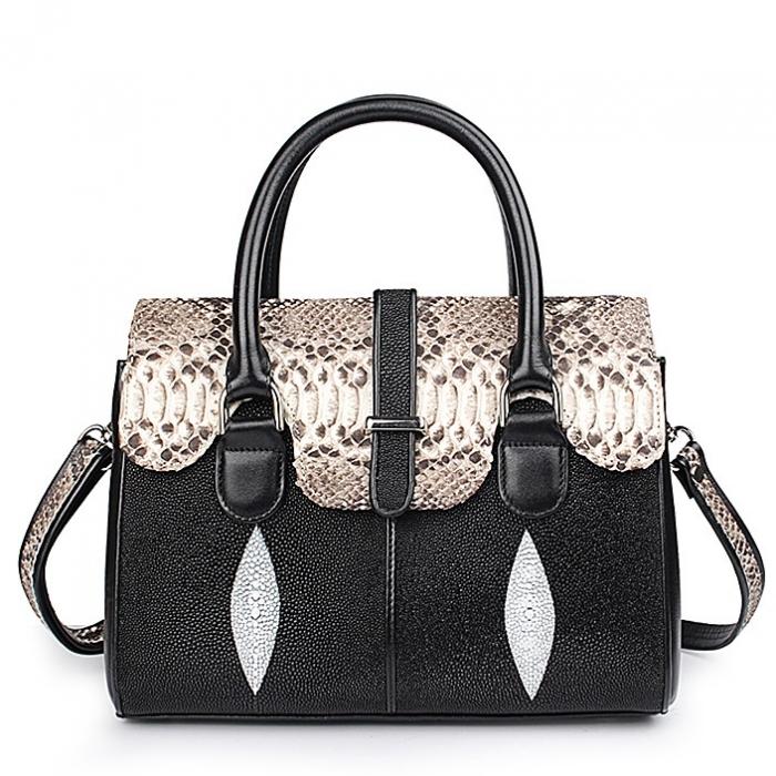 Ladies Stingray Leather Handbags Snap Closure Purses-Black