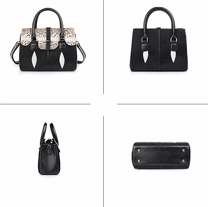 Ladies Stingray Leather Handbags Snap Closure Purses-Black-Details