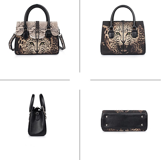 Ladies Stingray Leather Handbags Snap Closure Purses-Details