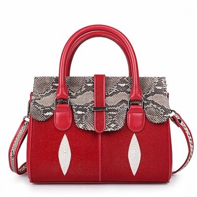 Ladies Stingray Leather Handbags Snap Closure Purses-Red