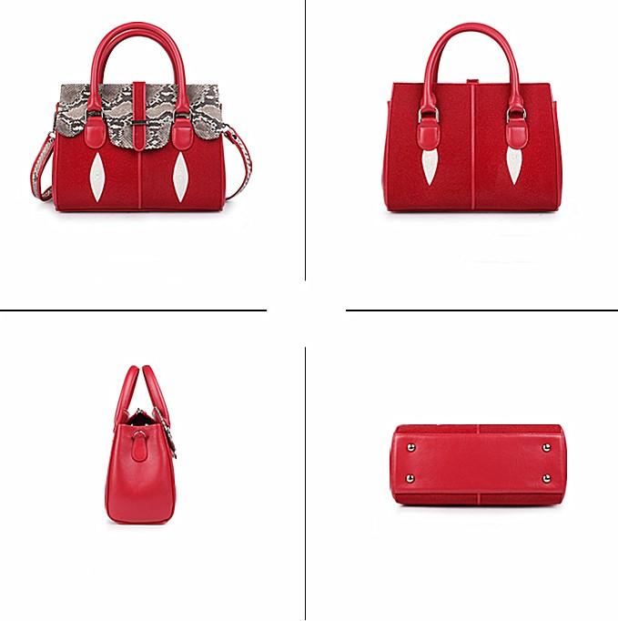 Ladies Stingray Leather Handbags Snap Closure Purses-Red-Details
