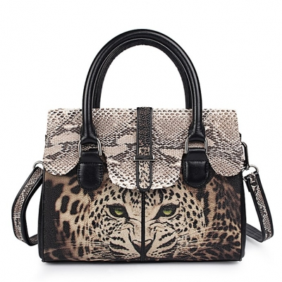 Ladies Stingray Leather Leopard Print Handbags Snap Closure Purses