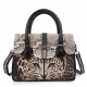 Ladies Stingray Leather Leopard Print Handbags Snap Closure Purses