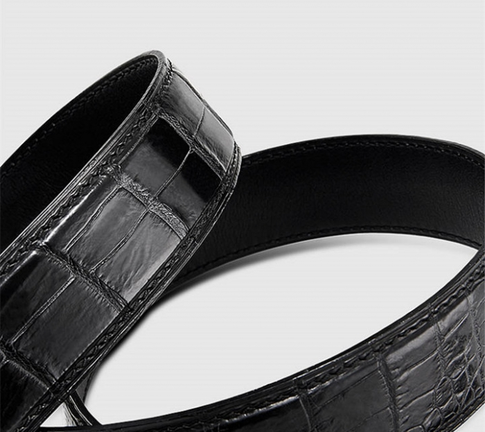Mens Alligator Leather Belt with Automatic Buckle-1
